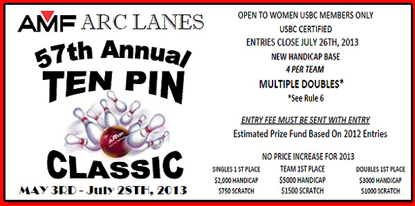 57TH ANNUAL LADIES TEN PIN CLASSIC